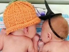 NICU Babies in Halloween Costumes