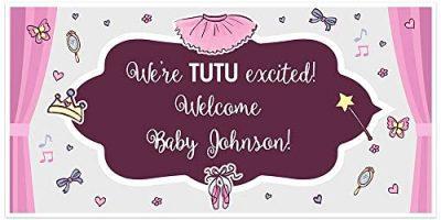 Tutu Ballerina Baby Shower Banner Backdrop